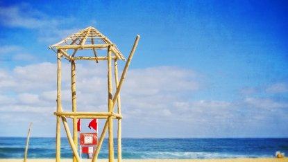 A lifeguard tower under construction